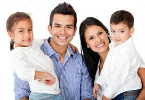 Happy family with beautiful smiles thanks to family dentistry Westfield relies on