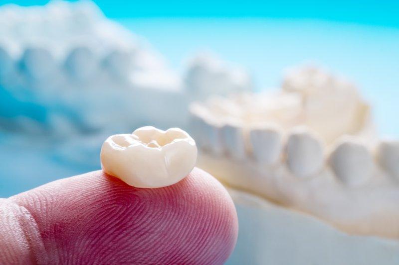 Dental crown held on a single finger